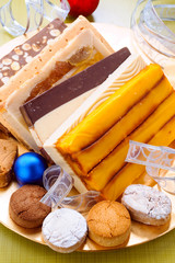 shortbread and nougat tray with christmas ornaments