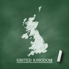 United Kingdom map chalkboard green vector