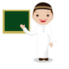 Professor in front of a black board.