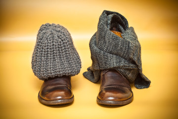 Leather shoes, gray knitted scarf and cap