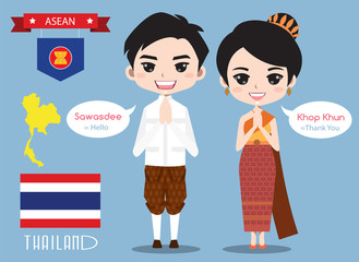 Thailand boy and girl in traditional costume