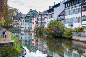 STRASBOURG, FRANCE - OCTOBER 25: Canal in Petite France area, oc
