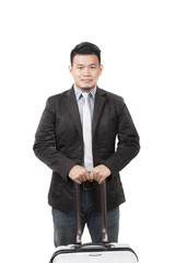 face of young asian man with a luggage for container belonging s