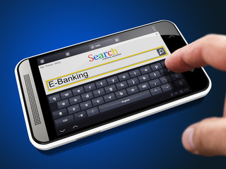 E-Banking in Search String on Smartphone.