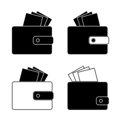 Icon - wallet with bills, money. Design in the flat style. Set