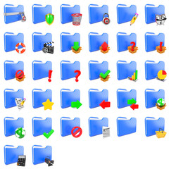 Storage Concept. Set of Folders Icons.