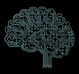 Electronic brain on black