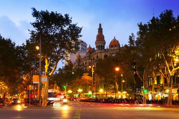 Passeig de Gracia in autumn  twilight. Barcelona