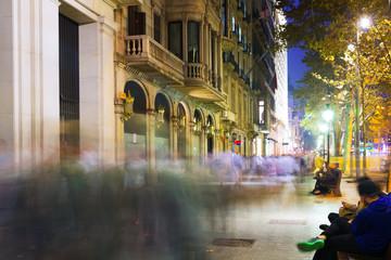 Passeig de Gracia  in autumn night. Barcelona