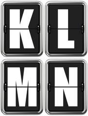 Letters K, L, M, N on Mechanical Scoreboard.