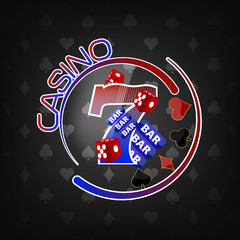 Casino background with lucky seven symbol and gaming elements