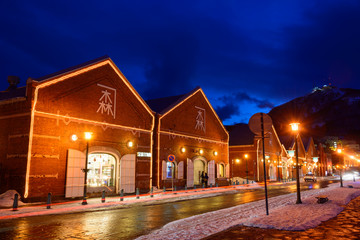 Kanemori Red Brick Warehouse in the twilight in Hakodate, Hokkai