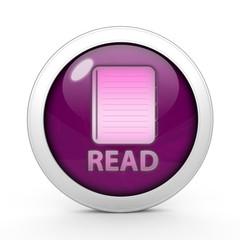 Read circular icon on white background
