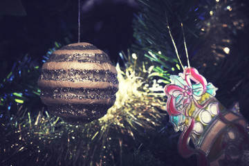 Christmas ornaments close up. Filtered image with vintage effect