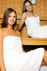 Young women relaxing in a sauna