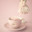 Vintage pink tea cup with a rose - 74851194