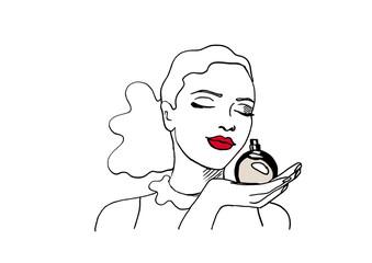Frau mit Parfumflakon