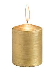 Golden burning candle isolated on white background