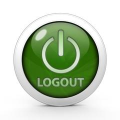 Logout circular icon on white background