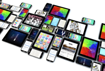 smartphones and tablets collection isolated