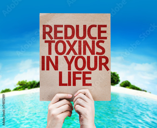 poster of Reduce Toxins In Your Life card with a beach background