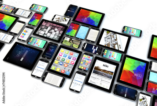 Leinwanddruck Bild smartphones and tablets collection isolated