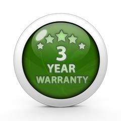 Three year warranty circular icon on white background
