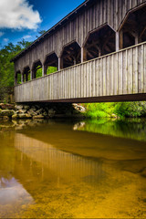 The covered bridge above High Falls, in Dupont State Forest, Nor