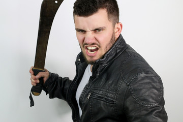 aggressive young man with a sword