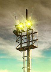 Loudspeakers on tower