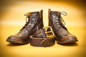 Fashion leather shoes, leather belt with gold buckle