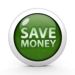 Save money circular icon on white background