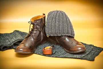 Fashion leather shoes, belt buckle, knitted scarf and hat
