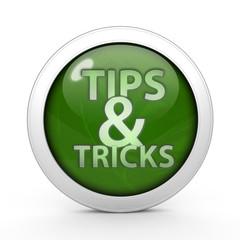 Tips & tricks circular icon on white background