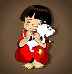 Little girl embracing a little puppy
