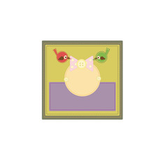 Card with the image of birds, buttons and patches