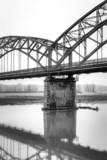 Gerola Bridge on the Po river, wintertime. BW image