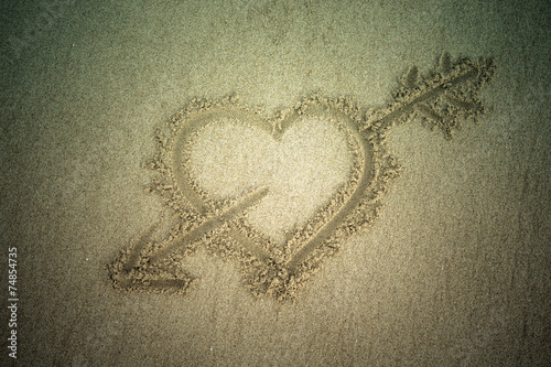 canvas print picture Heart drawn in the sand. Beach background. Top view. Tinted