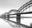 Gerola Bridge on the Po river, wintertime. BW image - 74854983