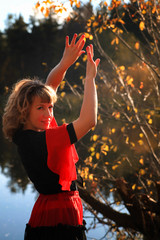 girl on the nature of Spanish dance dancing