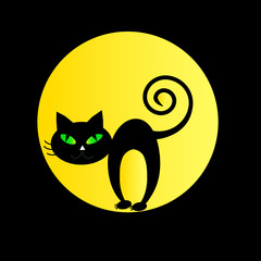 Black cat on a background of yellow moon