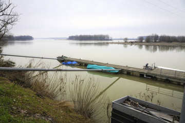 Po river winter panorama. Color image