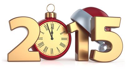 Happy New Year 2015 alarm clock Christmas ball