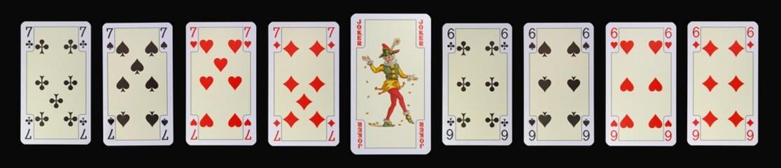Spielkarten der Ladys - SIEBEN - JOKER - SECHS