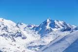 Winter landscape of mountains, Tignes, France.