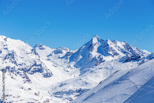 Winter landscape of mountains, Tignes, France. - 74855995