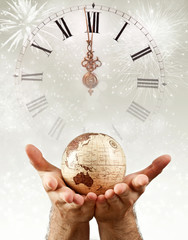 New Year over the globe earth