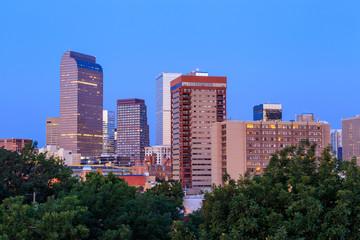 Denver skyline  at twilight.
