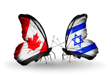 Two butterflies with flags Canada and  Israel