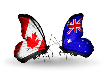 Two butterflies with flags Canada and Australia